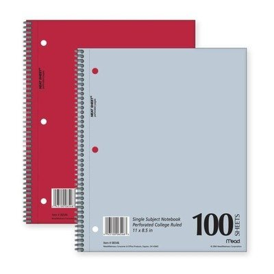 Mead Mid Tier Single Subject Notebook, College Rule, Letter, White, 100 Sheets/Pad (06546) by Mead Meadwestvaco Mid-tier-notebook