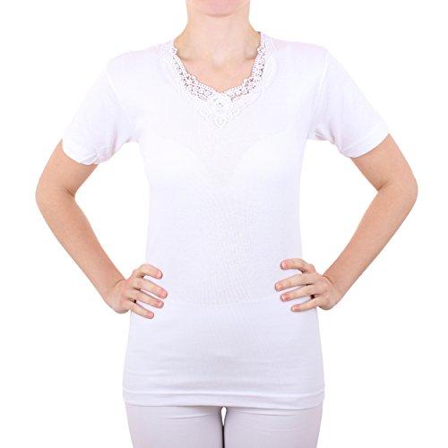 2er Pack Damen Unterhemd mit Spitze Feinripp aus 100% Baumwolle kurzarm (Top, T-Shirt, Oberteil) Nr. 326/516 Weiß