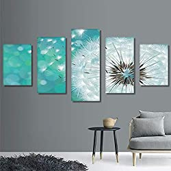 RDCHY Cuadro Lienzo Moderno 5 Piezas Margaritas Blancas HD Imagen De Póster Impresión Artística, Combinación Pintura Decorativa para Salón De Hogar/Sin Marco
