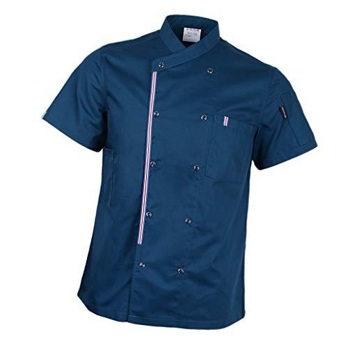 P Prettyia Atmunngsaktiv Kochjakce Bäckerjacke mit Druckknöpfe Kochbekleidung Arbeitskleidung Berufsbekleidung Arbeitsjacke für Gastronomie - Blau, M
