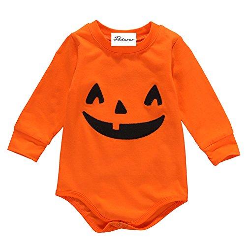 EROSPA® Baby Body Halloween Kürbis Strampler Kostüm Mädchen Jungen Unisex Orange 6-12 Monate