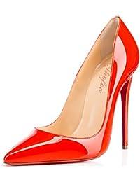 SHOFOO - Femmes - Femmes - Stiletto - Marron ou Noir - Cuir doux synthétique - Talon aiguille - Bout pointu fermé