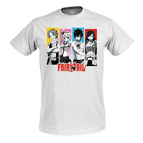 Fairy Tail Damen T-Shirt Team Natsu Lucy Gray ELSA Baumwolle weiß - M
