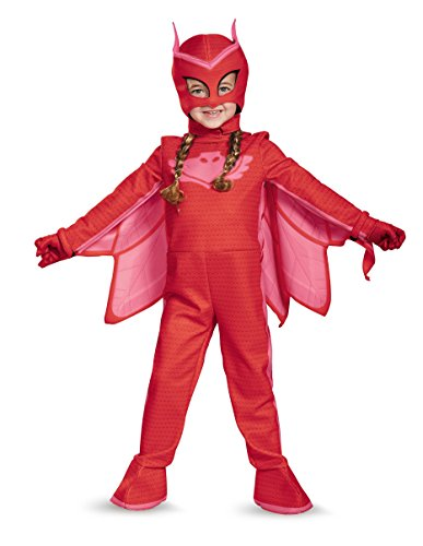 Disguise Owlette Deluxe Toddler PJ Masks Jumpsuit with Attached Boot Covers, Large/4-6X by Disguise