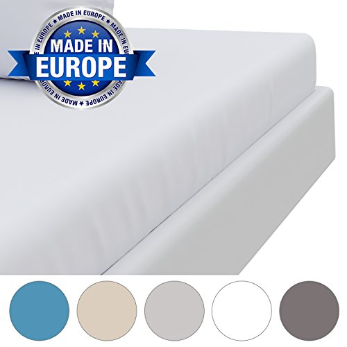 """Deep Fitted Sheet Alabaster White (140 x 190 cm, Adult), Ultra Soft Touch - Made in Europe with OEKO TEX Certification - 100% Microfibre, Crease-Free with Deep Sides and """"Easy-On"""" Corners"""