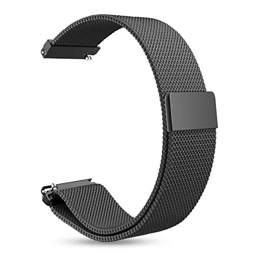TASLAR Stainless Steel Metal Mesh Magnetic Closure Band Strap Wristband Bracelet Compatible with Galaxy Watch 42mm / Garmin Vivoactive 3 / Galaxy Watch Active / Gear Sport & Any 20mm Width Watches (Black)