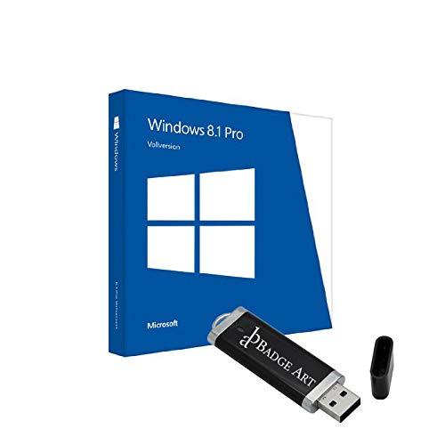 Microsoft® Windows 8.1 Pro ISO USB. 32 bit & 64 bit - Original Lizenzschlüssel mit bootfähigen USB Stick von Badge Art®