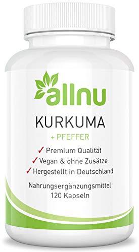 Kurkuma Kapseln Hochdosiert - Curcuma Extrakt Capsules von allnu® - Vegan - MADE IN GERMANY für Qualität im Spitzenbereich