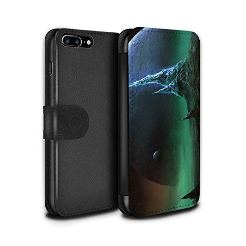Offiziell Chris Cold PU-Leder Hülle/Case/Tasche/Cover für Apple iPhone 7 Plus / Arcularius Nebel Muster / Fremden Welt Kosmos Kollektion Saphir Spitzen
