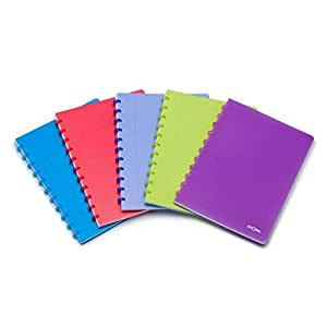 Atoma Trendy Organiser A4 Lined Paper, 120 Moveable Pages With 6 Page Dividers And 5 Plastic Pockets Blue