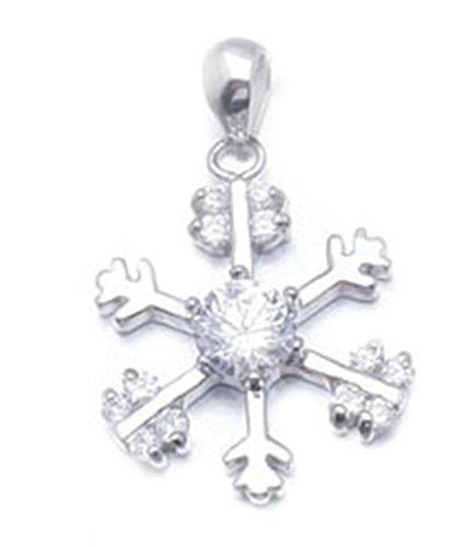 Bishiling Schmuck Kette Anhänger Damen Silber 925 Schneeflocke Weihnachten Kristall Weiß Halskette (Rosa Schneeflocke-hose)