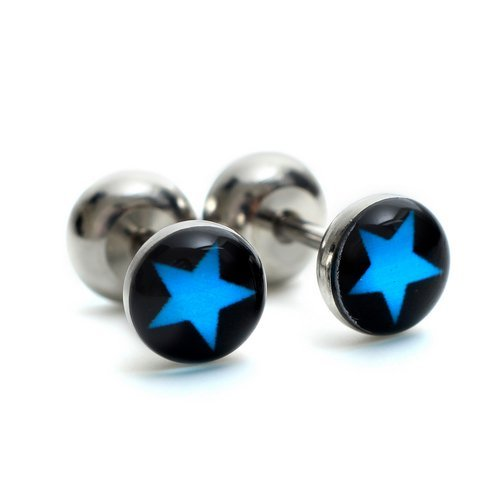 K Mega Jewelry Stainless Steel Black & Blue Star Studs Hoop Mens Earrings E502