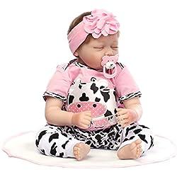 Hothap 55cm Silicone poupée Vinyle Lait Vache Rose Reborn naissance réaliste bébé jouet Petite enfance