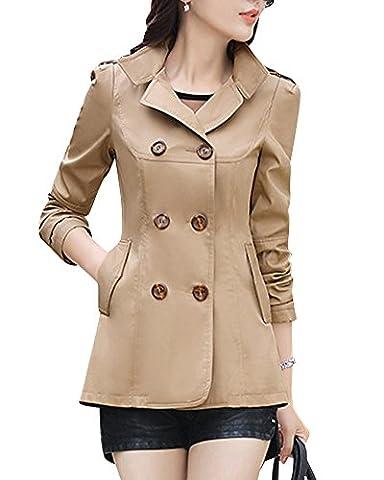 Women Double Breasted Trench Coat Short Section Slim Fit Windbreaker Outwear Overcoat Khaki M