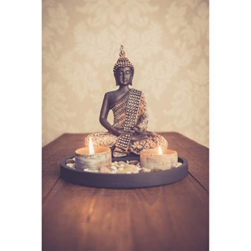 Buddha Sitzend mit Teelicht Deko-Statue - 6