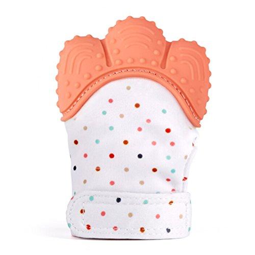Grapes Garden Jouet de Dentition de Bébé de Gant de Dentition de Bébé - 3-12 Mois - Protège des Mains de Babys et Douleur de Dentition Apaisante - 100% de Silicone de Catégorie Comestible. (Orange)