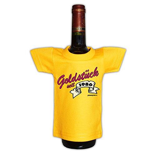 (Mini T-Shirt - Goldstück seit 1986 - Originelle Verpackung - Geschenkidee - Geburtstag - Party Gag - Flaschenverpackung)