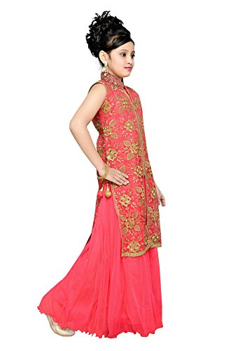Aarika Girl\'s Self Design Party Wear Gown - Fashion Exclusives