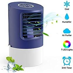 TedGem Climatiseur Mobile, 4 en 1 Mini Climatiseur, Mini Climatiseur Portable Humidificateur, Ventilateur de Bureau, 7 Lumières LED, 3 Vitesses avec Poignée, pour la Maison Bureau