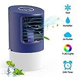 TedGem Aire Acondicionado Pequeño, Ventilador Aire Acondicionado, 4 en 1 Air Cooler Fan, Humidificador, Ventilador de Escritorio, 7 Luces LED, 3 Velocidades, para el Hogar y la Oficina