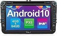Vanku Android 10 Autoradio für VW Radio 64GB+4GB PX6 mit Eingebautes DAB + Navi CD DVD Player Unterstützt Qual