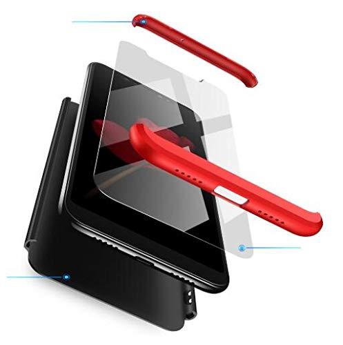 BIKANA Funda Compatible para Xiaomi Mi Mix 2S Carcasa[1*Cristal Templado] 3 in 1 Slim 360°Full-Protección PC Rígide Textura Mate Antideslizante Anti-caída Caso Cover-Rojo Negro