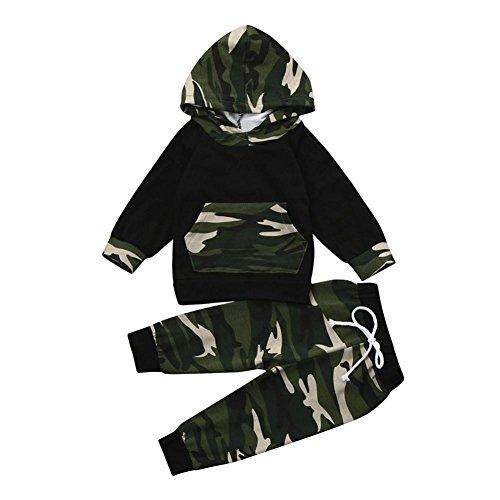 Kobay 2 stücke Kleinkind Jungen Mädchen Kleidung Set Camouflage Hoodie Tops + Hosen Outfits (Schwarz, 70 / 6 Monat) (Baby-mädchen-kleidung Stück 2)