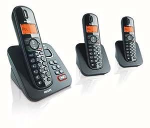 Philips CD1553B Trio Téléphone sans fil avec répondeur DECT/GAP + 2 Combinés supplémentaires Afficheur alphanumérique Noir
