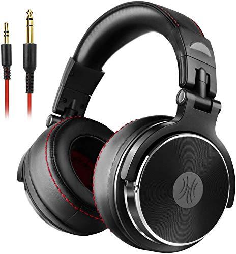 OneOdio DJ Kopfhörer Over Ear mit Kabel Geschlossener Studio Kopfhörer mit Mic, Adapter-Frei Hifi Studiokopfhörer mit Share Port Stereo Headphones in Schwarz für Podcast, Recording, Monitoring