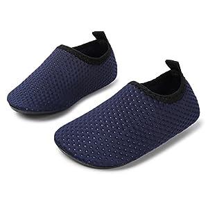 JIASUQI Baby Mädchen und Jungen Sommer Barfuß Wasserhaut Schuhe Strand Sandalen für Pool Surf Wasser Aerobic, Dot Navy 12-18 Monate