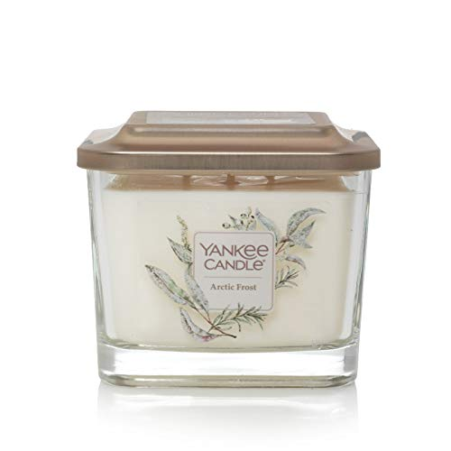 Yankee Candle Company Elevation Collection with Platform Lid, Medium 3-Wick Square Candle| Arctic Frost Lavender Square Candle
