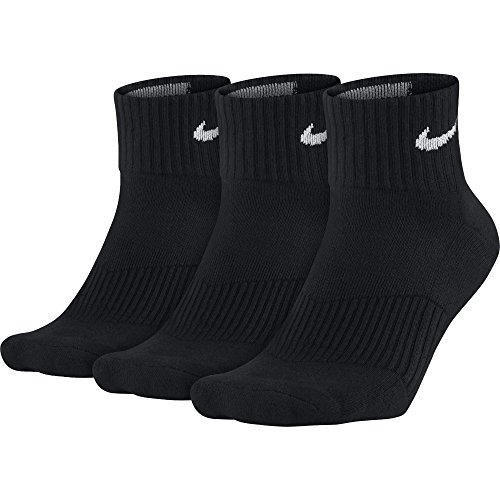 Nike Herren Strümpfe Cushion Quarter, 3er Pack - Schwarz (Black/White), 34-38 EU (Socken Nylon Running Sport)