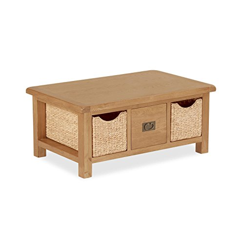 Buy Salisbury Oak Coffee Table With Baskets Solid Oak Coffee Table With Storage Rustic