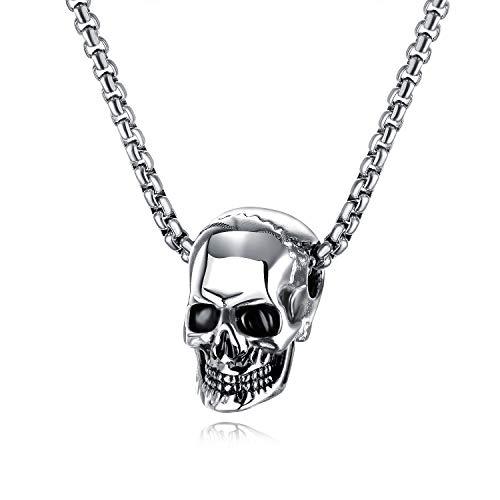 EZSONA Herren Silber Zucker Schädel Anhänger Halskette Gotisch Biker Groß Schwer Schädel Edelstahl Anhänger Halskette