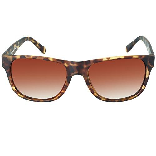 DUCO Klassische Square Polarisierte Acetat Sonnenbrille für Herren und Damen UV400 2145 (Matt Tortoise/Braun Verlaufsglas)