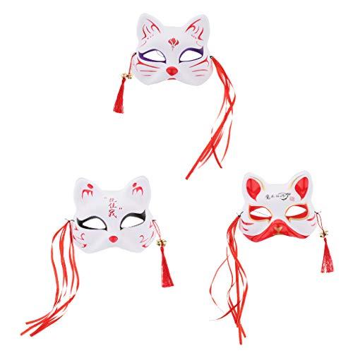 Baoblaze 3er Set Cosplay-Maske Fuchs Maske Japanische Cosplay Kostüm Requisiten für Kinder Und - Japanische Kostüm Kinder