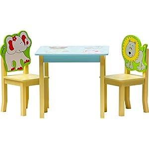 IB-Style – Kindersitzgruppe Safari | 3 Kombinationen | Set: 1x Tisch + 2X Stühle – Stuhl Truhenbank Kindermöbel Tisch Kindertisch Kinderstuhl