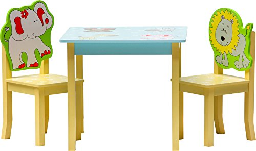 IB-Style - Kindersitzgruppe SAFARI | 3 Kombinationen | Set: 1x Tisch + 2x Stühle - Stuhl Truhenbank Kindermöbel Tisch Kindertisch Kinderstuhl