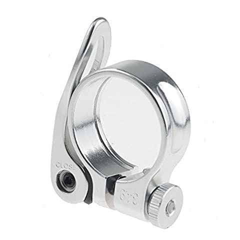 Aluminium Alloy Bicycle Mountain Road MTB Bike 31.8mm/34.9mm Quick Release Seat Post Clamp Tube Clip (Silver, 34.9mm)