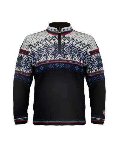 Dale of Norway Herren Vail Sweater, Midnight Navy/Red Rose/Off White/Indigo/China Blue, XXL (Dale Norway Pullover Of)