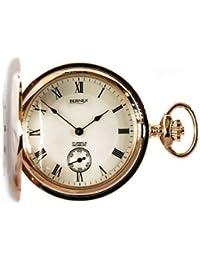 Bernex Swiss Made Mechanical Rose Gold Plate Demi Hunter Pocket Watch