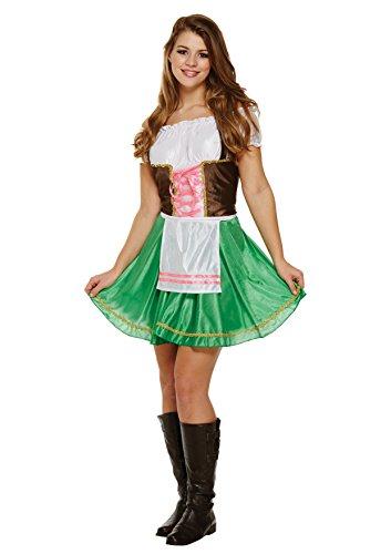 (Emmas Kleiderschrank Oktober Mädchen-Kostüm - Enthält Adult Frauen Bavarian Abendkleid mit Schürze - Deutsches Bier-Mädchen-Kostüm für Hen Parties - (Women: 36, Green))