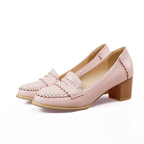 AllhqFashion Damen Pu Mittler Absatz Rund Zehe Ziehen Auf Pumps Schuhe Pink