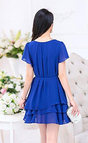 Damen Chiffonkleid mit Sommerkleid Wickelkleid Sommerkleid Freizeitkleid Partykleid Chiffonkleid knielang Blau