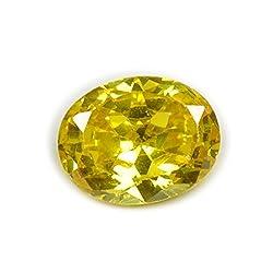 55Carat Cubic Zircon Stone 4.4 Ratti Oval Jarkan Loose Gemstone Dark Yellow