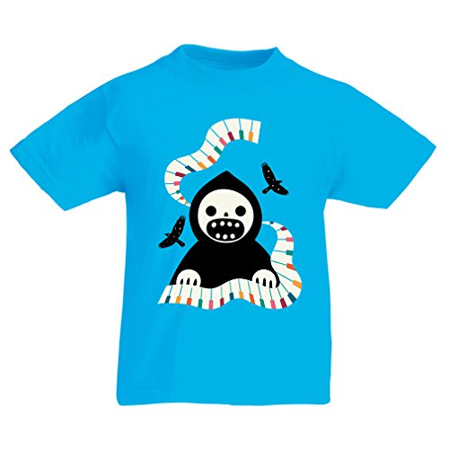 Kinder T-Shirt Halloween Horror Nights - The Death is Playing on Piano - cool Scarry Design (7-8 Years Hellblau Mehrfarben)