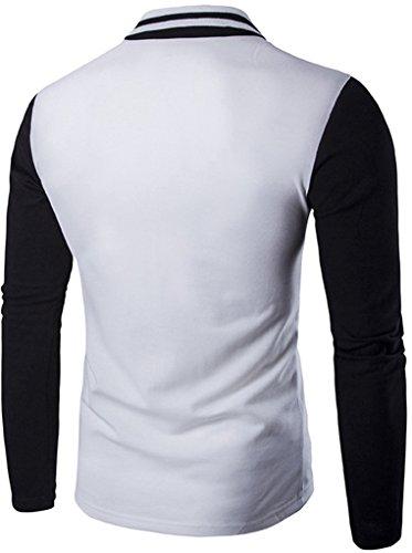 Whatlees Herren schmale Passform Langarm Polohemd mit Kontraststreifen in Versch Farben B111-Black