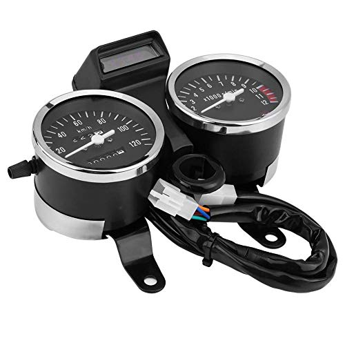 Cathy02Marshall Motorrad Tachometer Tacho Dual Kilometerzähler Messgerät Universal Drehzahlmesser Digitalanzeigefür Suzuki GN125