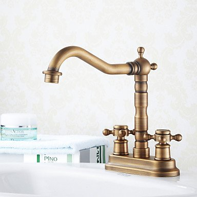 miaoge Individuelle Antik 10,2cm Centerset Chrom Waschbecken Wasserhahn, Heiß/Kalt (Wasserhahn Motion Waschbecken)