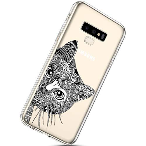 Handyhülle Kompatibel mit Galaxy Note 9 Schutzhülle Silikon hülle Transparent Ultradünn Clear Cover Handytasche Weich Durchsichtig Klar Schutzhülle Case Cover Tasche,Schwarz Katze